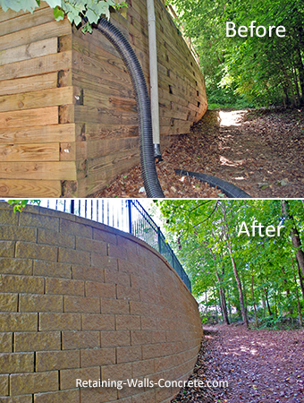 how to fix a leaning railroad tie retaining wall